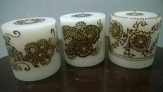 Beautiful custom made HENNA candles! WOW your family, friends, clients, colleagu. Henna Candles, Wedding Henna, Pillar Candles, Custom Made, Favors, Beautiful Candles, Mehendi, Diwali, Friends Family