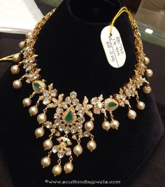 Uncut Diamond Necklace latest jewelry designs - Page 5 of 112 - Indian Jewellery Designs Frozen Jewelry, Bridal Jewelry, Gold Jewelry, India Jewelry, Antique Jewellery, Trendy Jewelry, Latest Jewellery, Jewelry Patterns, Jewelry Design