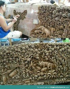 Brilliant Carving/Sculpture from Thailand Art Sculpture En Bois, Elephant Sculpture, Elephant Art, Stone Sculpture, Statues, Instalation Art, Wood Carving Art, Wood Carvings, Stone Carving