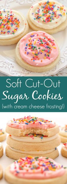 These Soft Cut-Out Sugar Cookies with Cream Cheese Frosting are easy to make and don't require any dough chilling!