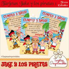 Tarjetas de invitación Jake y los piratas 1
