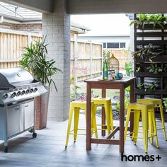 A and in Melissa's As featured in the May 2015 issue of homes+. Contemporary Style Homes, House And Home Magazine, Bird Cage, Curb Appeal, Interior Inspiration, Barbecue, Bar Stools, Herbs, Backyard