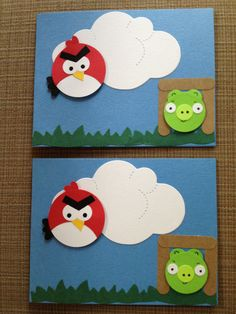 I bet I could cut out the pieces, and the boys could glue them together. Handmade invitations?    angry birds & pig card. $2.00, via Etsy.