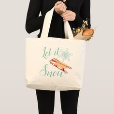 Winter Sled Let It Snow Text Design Large Tote Bag - holidays diy custom design cyo holiday family