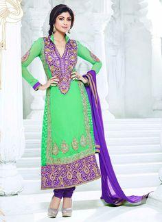 Buy Bollywod Shilpa Shetty Green Churidar Suit US$ 95.82 . shop at - bollywood-ankle-length-anarkali.blogspot.co.uk/2014/04/buy-bollywod-shilpa-shetty-green.html