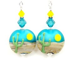 Saguaro Cactus Earrings Lampwork Earrings by BeadzandMore on Etsy, $31.00