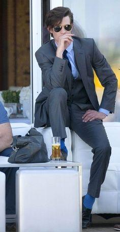 Matt Smith at the Polo Club. Of course his socks are TARDIS blue! Matt Smith, Robert Smith, Tardis Blue, Blue Socks, Eleventh Doctor, Polo Club, Film Serie, Moda Masculina, Toddler Girls