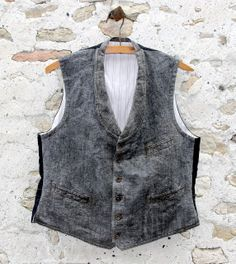 Early 20th century FRENCH SALT AND PEPPER / WOOL AND COTTON VEST - Ancien gilet gris coton et laine circa 1920, France