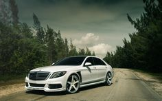 Download wallpapers Mercedes-benz S-class, 2017, tuning, luxury sedan, White S-class, W222, Mercedes S63 AMG, Mercedes