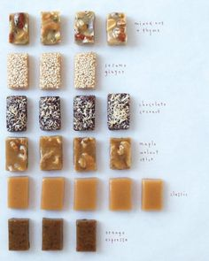 Christmas Gifts: Recipe: Classic Caramel Candies with 5 Variations: Mixed Nut & Thyme, Sesame Ginger, Chocolate Coconut, Maple Walnut Spice, and Orange Espresso - Martha Stewart Köstliche Desserts, Delicious Desserts, Dessert Recipes, Yummy Food, Winter Desserts, Plated Desserts, Candy Recipes, Yummy Recipes, Sweet Recipes