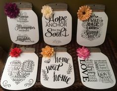 Dollar tree cardboard mason jars. Paint and vinyl decals. Everything but paint found at the dollar tree.