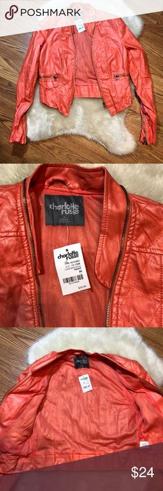 💕Charlotte russe faux leather jacket💕 💕Charlotte russe faux leather jacket. Pink/coral color. Size m. Great condition! New with tags. Feel free to ask questions 😊 Charlotte Russe Jackets & Coats Blazers