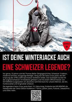 The legendary Swiss Cross Jacket celebrates 10th Birthday. Discover with us the highlights of the Swiss Edition Collection: T-shirts, jackets, jeans, sweaters, sweatshirts and more. http://www.krumnowfashion.de/index.php?article_id=16
