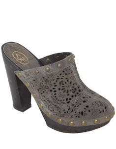 Women's studded suede cut out clogs from Italian shoe designer Ash. A stunning take on the classic clog. The cut out leather upper adds a delicate boho style to the wooden clog