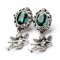 Pair of Unique Figure Pendant Faux Gem Decorated Oval Earrings For Women, GREEN in Earrings | DressLily.com