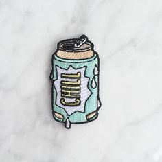 Beer Can Iron On Patch - Patches - Embroidered Applique - Chill - Wildflower + Co. - Multiples