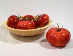"""Tomatoes in a Maple Bowl"" by Saskatchewan wood artist Dale Lowe."