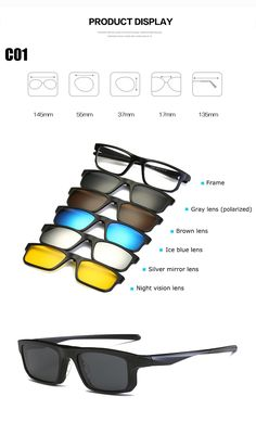 c7a9b46733ee Optical Frame Men Women With 5 Clip On Magnetic eyeglasses