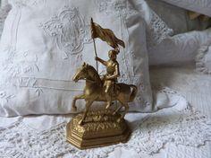 Antique French Jeanne d Arc st Joan of Arc statue sculpture 1800s religious statue figurine saint figure figurine on horse w banner w sword