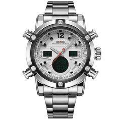 WEIDE Brand Mens Sports Watches LED Digital Analog Quartz Watch Display 2 Time Zones Full Steel Watch Men Waterproof 3ATM Clock