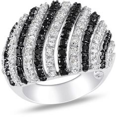 White and Black CZ Striped Ring in Sterling Silver