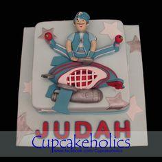 Torta rectangular 1 piso con figura Sportacus en 3D