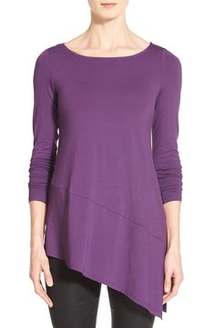 Free shipping and returns on Eileen Fisher Bateau Neck Asymmetrical Jersey Tunic (Regular & Petite) (Online Only) at Nordstrom.com. A gently curved neckline balances the pointed finish of a long-sleeve tunic crafted from supple jersey. A deep vent at one side accentuates the fluid style.