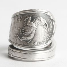 Capricon Ring Goat Ring Sterling Silver Spoon Ring by Spoonier