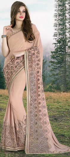 734717 Beige and Brown color family Embroidered Sarees, Party Wear Sarees in Georgette fabric with Lace, Machine Embroidery, Moti work with matching unstitched blouse.