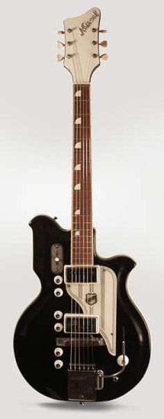 National Newport 88 Model Semi-Hollow Body Electric Guitar (1965), made in Chicago, black finish, molded fiberglass body with wooden core, maple neck with rosewood fingerboard, original two-tone hard shell case.  The National Res-O-Glas guitars of the 1960s remain one of the most exuberant exampl...