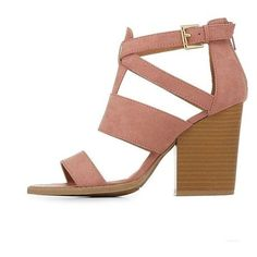 Charlotte Russe Strappy Chunky Heel Sandals ❤ liked on Polyvore featuring shoes, sandals, chunky heel sandals, thick heel sandals, cage sandals, chunky heel shoes and wide heel sandals