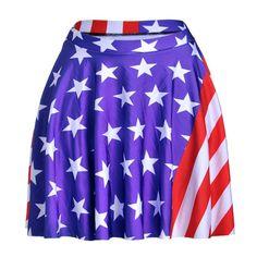New 2016 Summer Sporting Skirts Blue American Flag Skirts Digital Printed Girls Above Knee Pleated Blue Skirts YEU #Affiliate