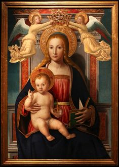 """ The Madonna and Child with Angels. By Ludovico Brea. Blessed Mother Mary, Blessed Virgin Mary, Religious Images, Religious Art, The Cross Of Christ, Book Of Kells, Catholic Saints, Roman Catholic, Madonna And Child"