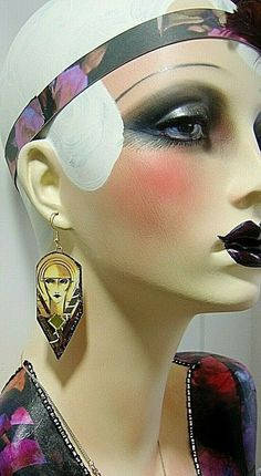 I love big earrings but they were always making my ears sore so i made loads of these in different designs. Vintage Mannequin, Mannequin Heads, Art Deco Makeup, Hat Stands, Big Earrings, Dress Form, Face And Body, Halloween Makeup, Make Me Smile