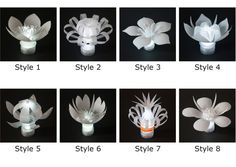Set of 8 LED Plastic Bottle Flowers one in by SarahTurnerEcoDesign Reuse Plastic Bottles, Plastic Bottle Flowers, Plastic Bottle Crafts, Plastic Art, Recycled Bottles, Recycled Crafts, Diy And Crafts, Pet Bottle, Diy Recycle