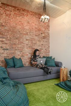 "A Social Media Agency's Innovative Office Design - ""The bean bag room is really fun too!  We had custom bean bag chair  pillows made and installed. High pile carpeting makes for a really comfy room for employees to lounge in. I've heard this is everyones favorite room!"" - @Homepolish New York City"