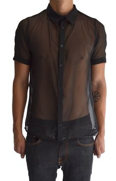 Transparent Short Sleeve Sheer Button Down  by Inverted Skin