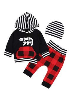 c954ec5e1602 Newborn Baby Boys Girls Clothes Long Sleeve Striped Bear Hoodie Sweatsuit  Pocket Tops Plaid Long Pants