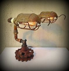 Found Object Light Sculpture - Steampunk Lamp - Gates to The Soul © Industrial Lighting, Vintage Lighting, Industrial Office, Modern Industrial, Vintage Industrial, Car Part Furniture, Lamps For Sale, Steampunk Lamp, Cool Lamps