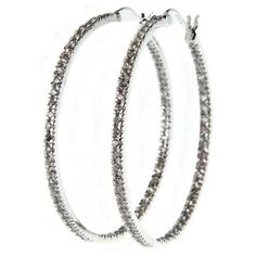 NYLA STAR Pave Hoop ($125) ❤ liked on Polyvore featuring jewelry, earrings, accessories, jewelry - earrings, hoops, nyla star jewelry, earrings jewelry, hoop earrings, pave earrings and nyla star