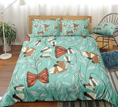 Floral Butterfly Bedding Set Clean Design, 3d Design, Butterfly Bedding Set, Bed In A Bag, Cotton Duvet, Gifts For Teens, Beautiful Patterns, Duvet Cover Sets, Bedding Sets