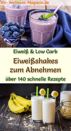 Eiweißshakes zum Abnehmen - 145 Rezepte für Proteinshakes Make healthy protein shakes yourself - 145 quick recipes for homemade protein shakes without sugar and low in calories with e. Quark, buttermilk, yogurt, kefir etc. Homemade Protein Shakes, Healthy Protein Shakes, Low Carb Protein, Protein Shake Recipes, Protein Foods, Protein Smoothies, Healthy Foods, Kefir Benefits, Kefir Recipes