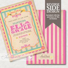 Circus Invitation, Carnival Invitation, Big Top - Printable Baby Shower / Birthday Party Invite - PINK. $15.00, via Etsy.