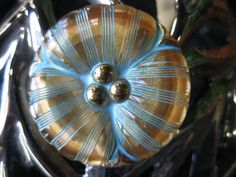 Poppy in Golden Czech Glass Button Accented in by seethrusand, $7.40