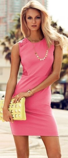 H & M (love the yellow with the pink dress): closet ideas women fashion outfit clothing style Pink Fashion, Love Fashion, Fashion Beauty, Womens Fashion, Fashion Trends, Dress Fashion, Fashion Ideas, Sexy Dresses, Cute Dresses