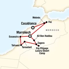 Map of the route for Morocco: Sahara & Beyond