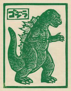 "'Godzilla' from the ""Kaiju"" series by Miami-based American artist Brian Reedy… Coperate Design, Pop Art, Comics Illustration, Arte Indie, Plakat Design, Art Japonais, Poster Prints, Art Prints, Block Prints"