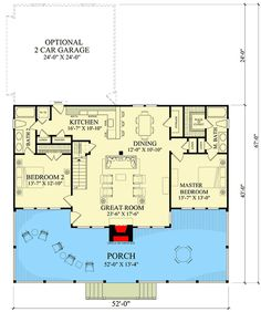 Great main floor of a beach house Charming Two Bedroom Getaway - floor plan - Main Level Small House Plans, Dream House Plans, Beach House Floor Plans, Master Suite, Br House, Cottage Plan, Cabins And Cottages, Two Bedroom, Bedroom Beach