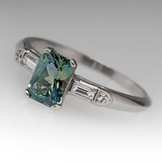 Sapphire Engagement Ring Vintage 1.19 Carat Blue Green by EraGem