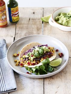 Chipotle Black Bean Tacos with Red Cabbage Sale, Grilled Corn Slaw and Edamame Guacamole by thedesignfiles #Tacos #Black_Bean #Healthy